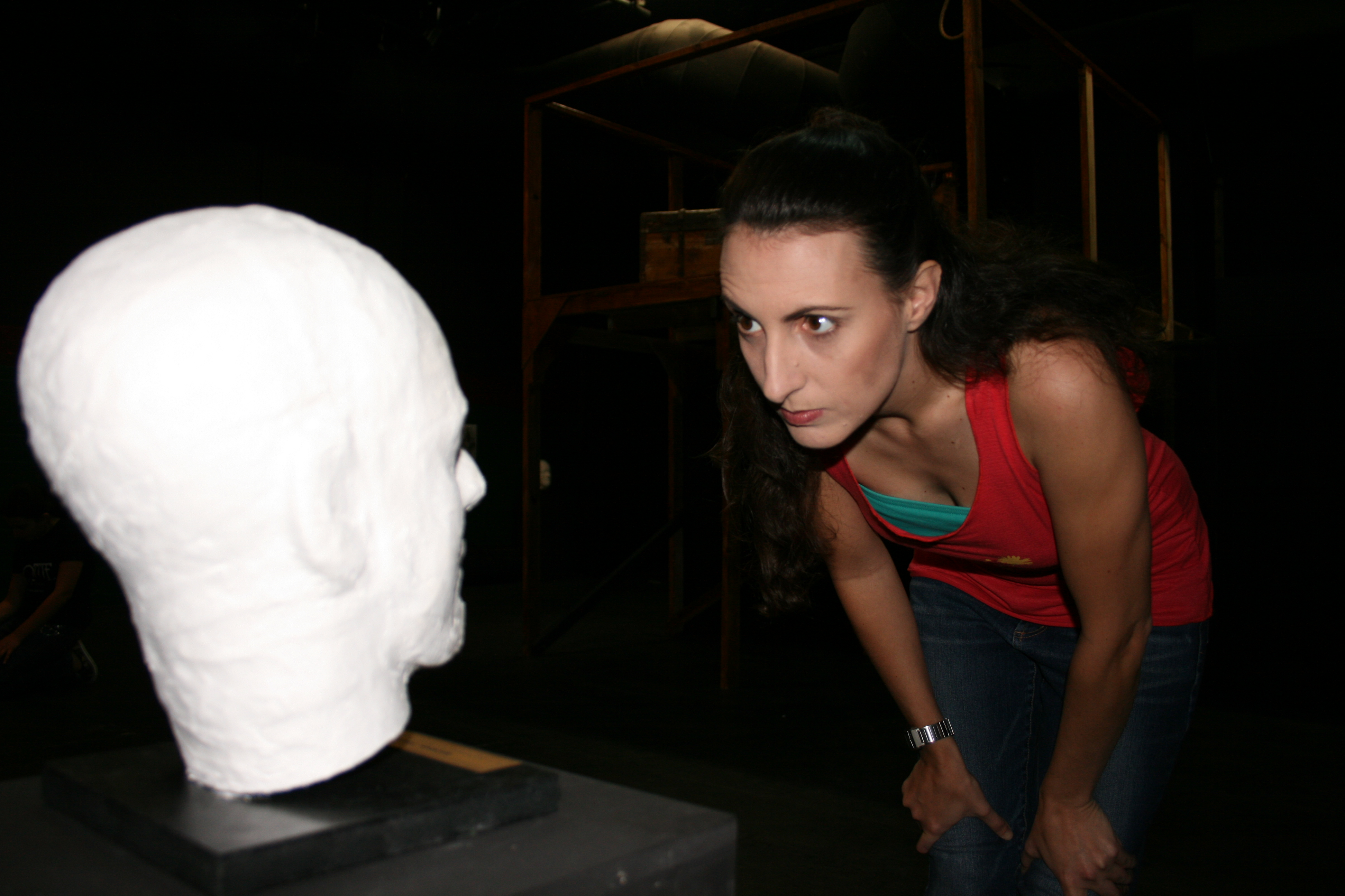 Jess studies the death mask of a notorious murder at the old prison.